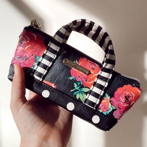 Betsey Johnson Rose Polka Dot Makeup Bag